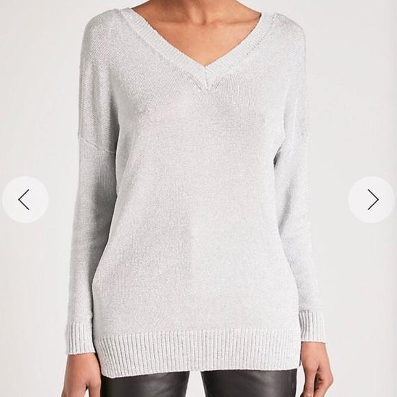 Top Topshop Metallic Pristine Sweater 2 Poshmark Neck V Sweaters Sz 4Y4rpq6